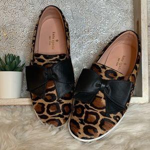 Kate Spade Delise Leopard Print Black Bow Slipon